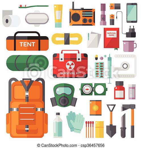 Clipart Vector Of Survival Emergency Kit For Evacuation
