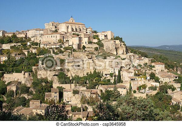 Gordes, hilltop village in Provence - csp3645958