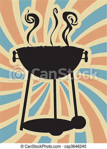 BBQ Silouette Swirl Blue Red Vector - csp3646240