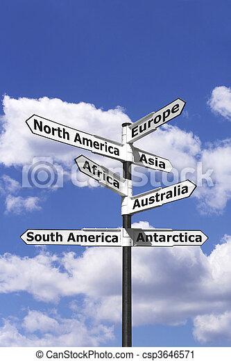 Seven continents signpost vertical - csp3646571