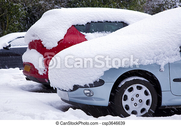 Cars covered in snow - csp3646639