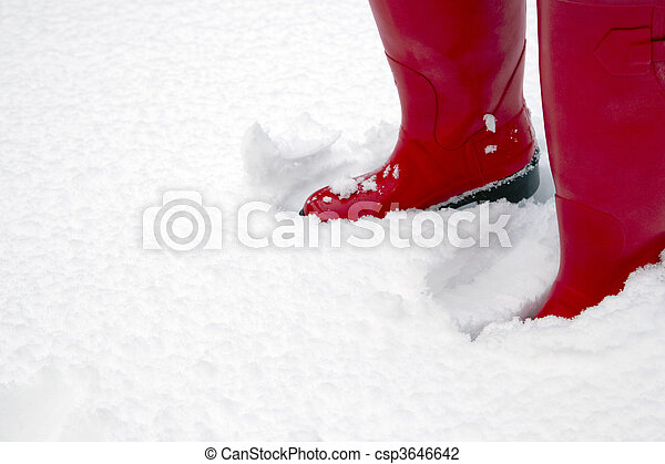 Red wellington boots in the snow - csp3646642