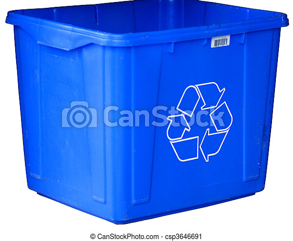 blue recycle bin isolated on white background - csp3646691