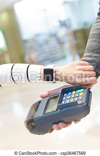 Customer pay by smart watch with empty screen, great for your design