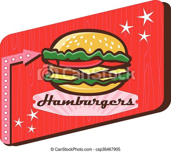 Vector Clipart of Retro 1950s Diner Hamburger Sign - Illustration ...