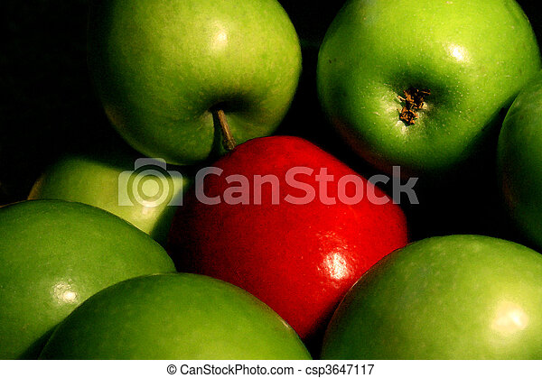 Picture of Odd one out - A bowl of green apples surround a single ...