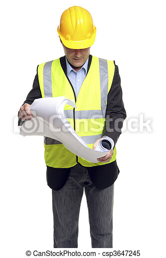 Building contractor in safety gear with plans - csp3647245