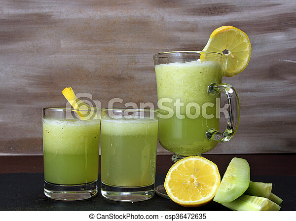 Cucumber and lemon juice. - csp36472635
