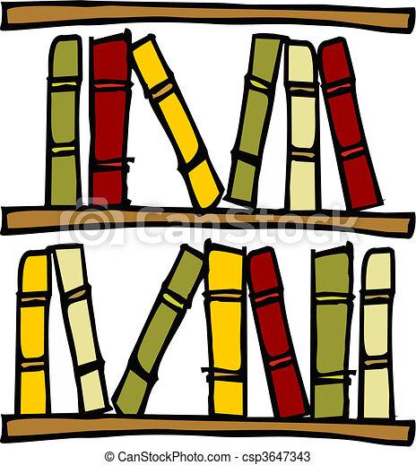Bücherregal gezeichnet  Vektoren von books., regale - Three, hand, gezeichnet, regale, mit ...