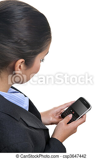 Businesswoman using a mobile device - csp3647442