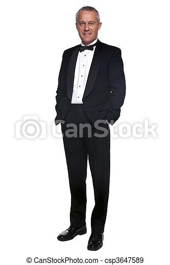 Mature man in tuxedo and black tie. - csp3647589
