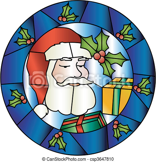 Christmas stained glass decoration with Santa - csp3647810