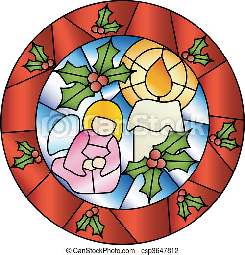 Christmas stained glass decoration - csp3647812