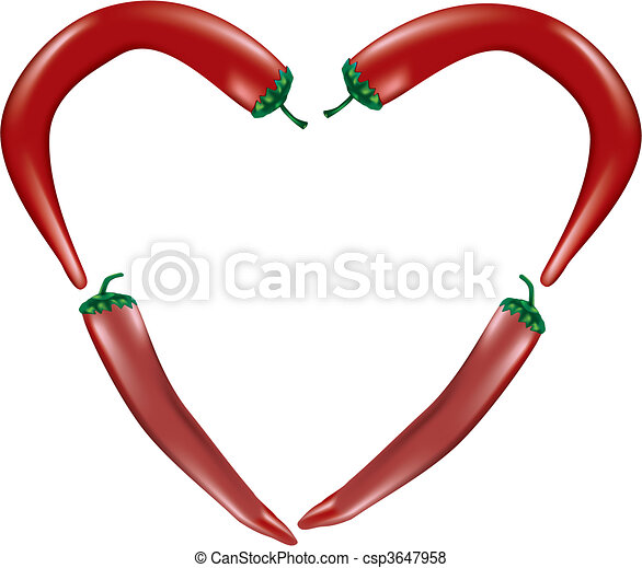 Heart-shaped chili peppers - csp3647958