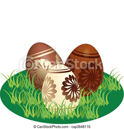 Decorated chocolate eggs in a stylized lawn - csp3648116