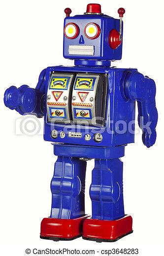 Vintage tin robot walking isolated on white - csp3648283