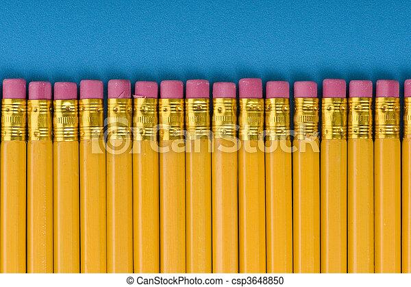 crayon with eraser on blue - csp3648850