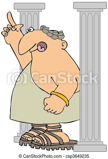 Roman Citizen Between Columns - csp3649235