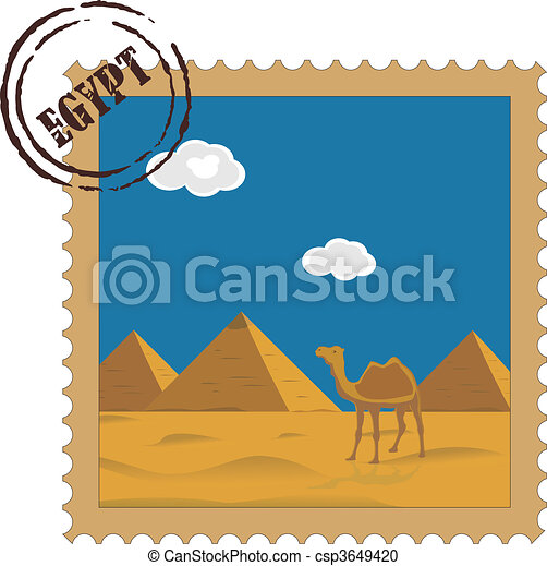 Old vintage postal stamp with Egyptian pyramids, famous landmark  - csp3649420
