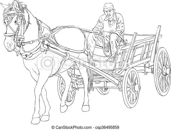 Vecteur clipart de cheval charrette cheval et cheval - Charrette dessin ...
