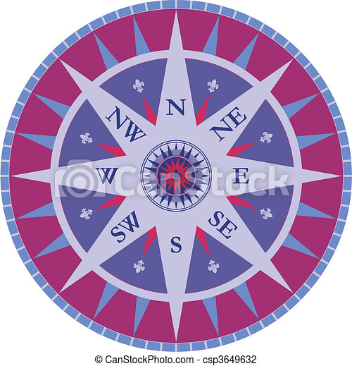 Vintage vector compass - rose wind - csp3649632