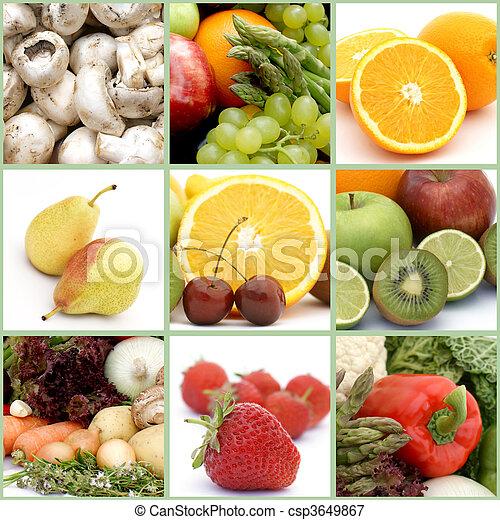 fruta, vegetales, collage - csp3649867