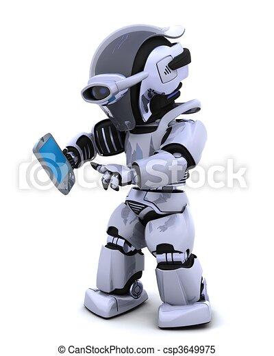 robot with palm pilot - csp3649975