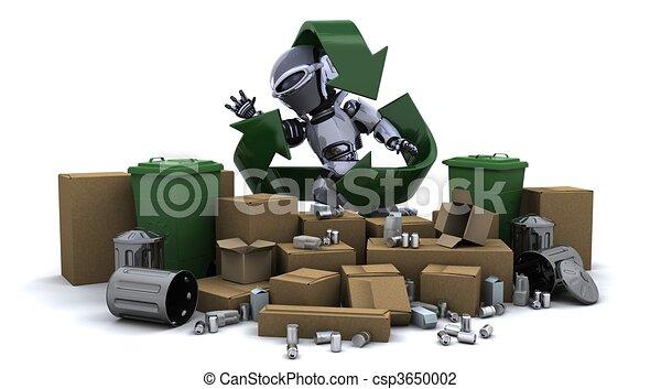 clip art de robot d chets m nagers 3d render robot d chets csp3650002 recherchez des. Black Bedroom Furniture Sets. Home Design Ideas