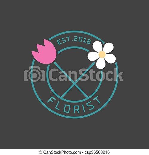 Flower shop logo vector - csp36503216