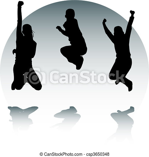 Silhouettes of jumping teenagers - csp3650348