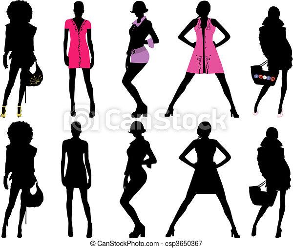 Silhouette fashion girls - csp3650367