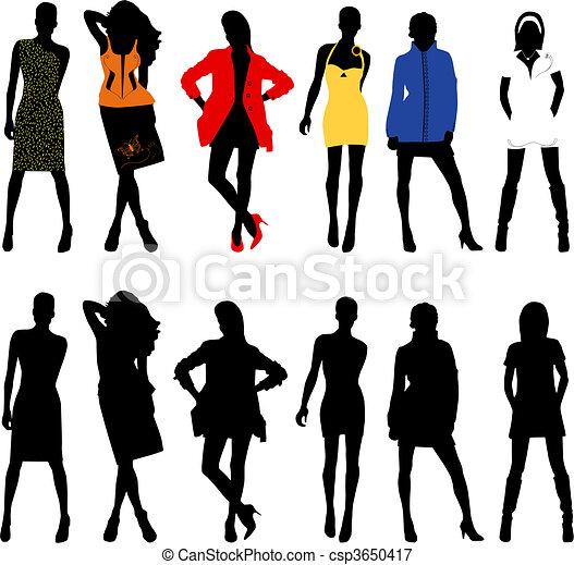 Silhouette fashion girls - csp3650417