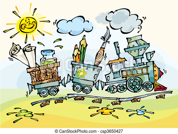 Baby train with pencils and brushes - csp3650427