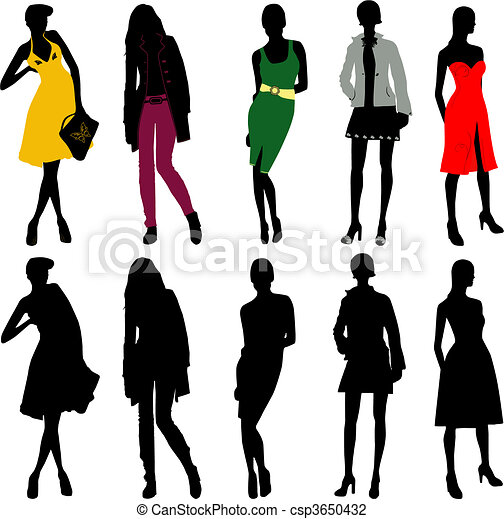 Silhouette fashion girls - csp3650432