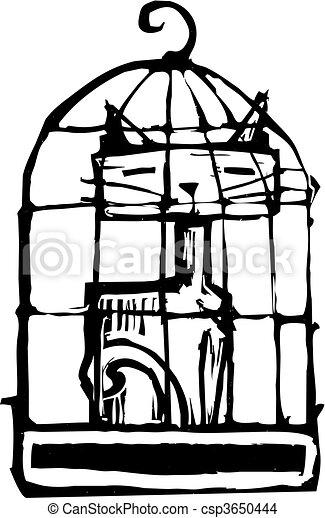 Cat in Cage #2 - csp3650444