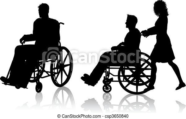 Man and woman with wheelchair - csp3650840