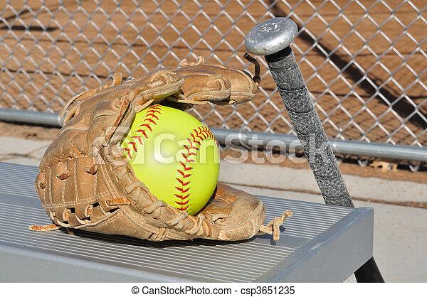 Yellow Softball, Bat, and Glove - csp3651235