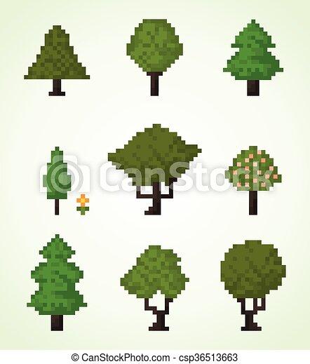 pixel art arbre