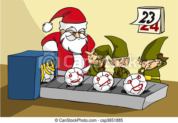 oops! elves trapped while joking at xmas toy factory - csp3651885