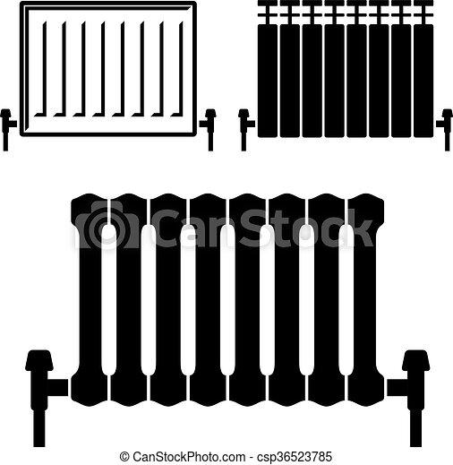 Vector of central heating radiator black symbols for Radiador dwg