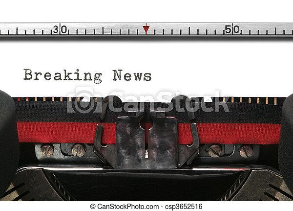 Typewriter Breaking News - csp3652516