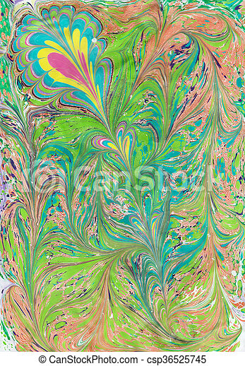 Turkish Ebru art. The picture is drawn on the water, then transfer to paper