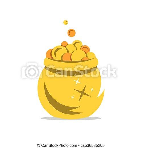 Vector A Gold Pot of Money Cartoon Illustration. - csp36535205