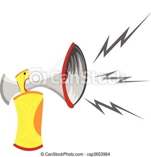 Air Horn Cartoon Isolated on White.  - csp3653964
