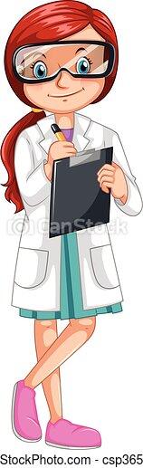 Vecteur clipart de enregistrement scientifique exp rience femme female csp36548957 - Coloriage petit scientifique ...