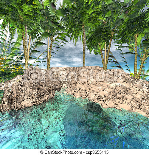 oasis with palm trees - csp3655115