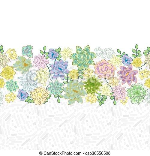 Vector Clipart of Succulent garden border card design Horizontal