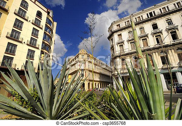 Havana cityscape with historical Hotel Plaza, cuba. January 2010 - csp3655768
