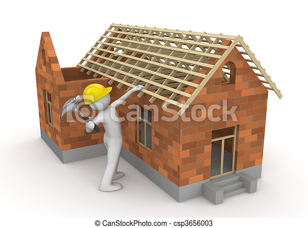 Workers collection - Carpenter on roof timber - csp3656003