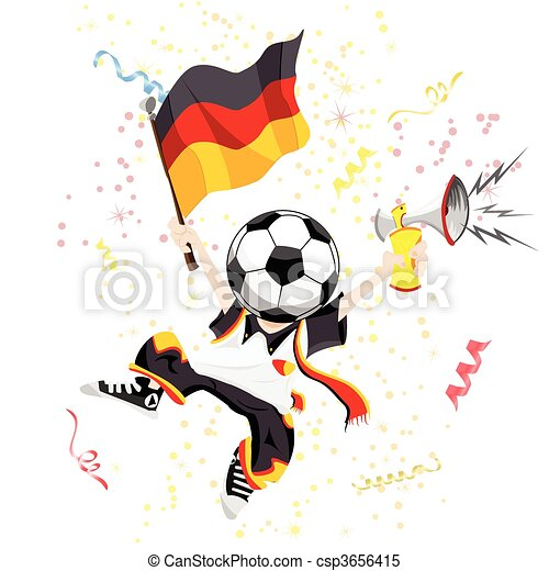 German Soccer Fan with Ball Head - csp3656415